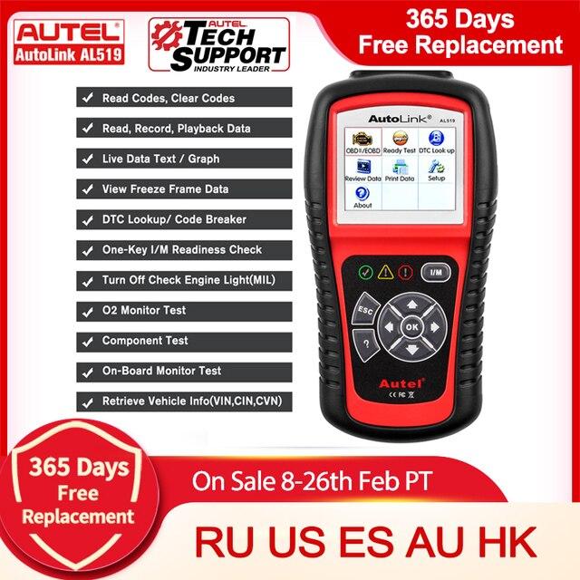Autel AutoLink AL619 AL519 Motor ABS SRS Airbag OBD2 Code Reader Scanner Tool Echtem
