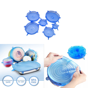 6 Packs Silicone Stretch Lids Keeping Food Fresh Reusable Durable And Expandable Silicone Stretch And Seal Lids Bowl Covers