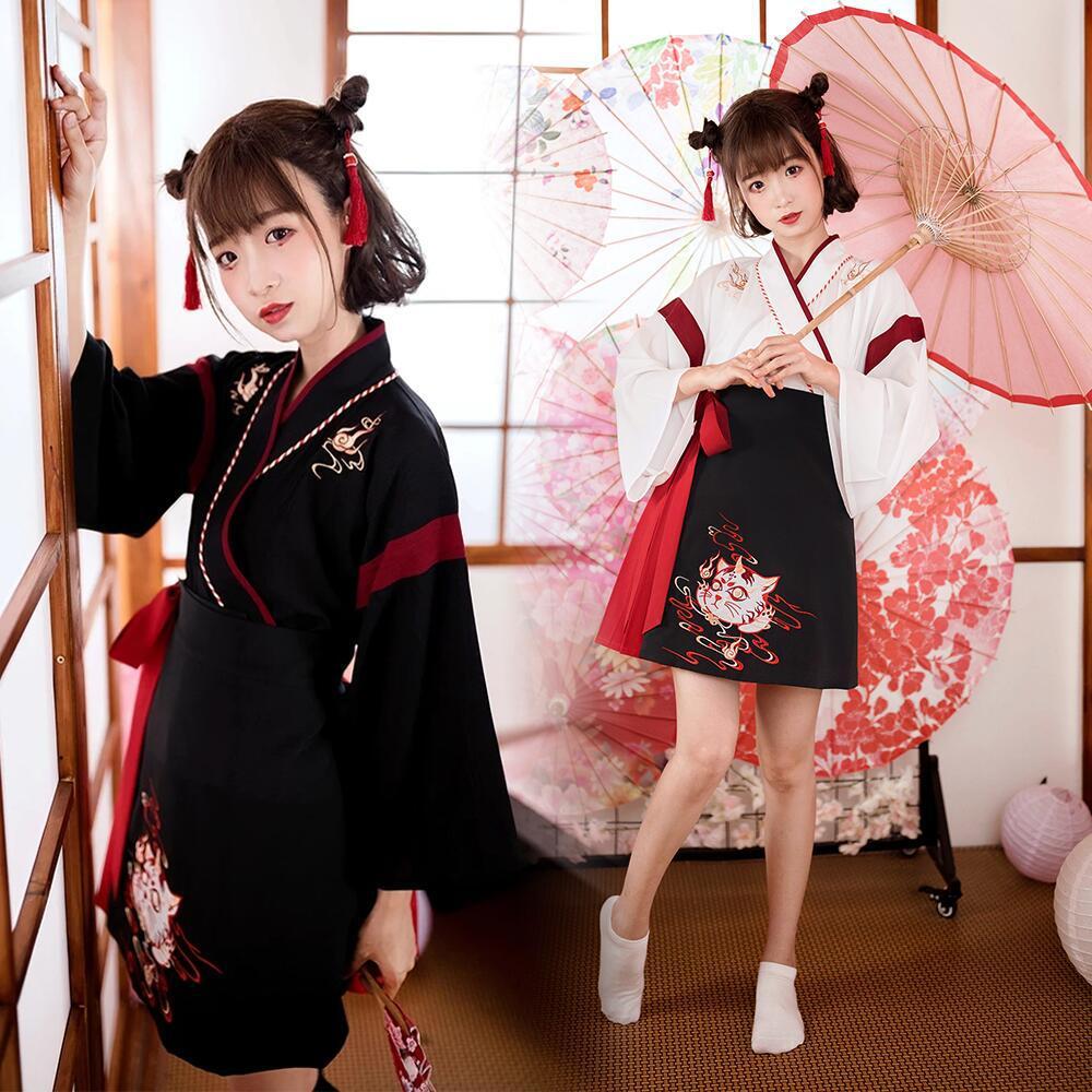 Japanese Dress Kimono Woman Black White Cat Embroidery Sweet Vintage Asian Clothing Yukata Haori Cosplay Party 2pieces Set