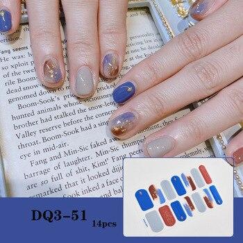 14pcs/sheet Glitter Gradient Color Nail Stickers Nail Wraps Full Cover Nail Polish Sticker DIY Self-Adhesive Nail Art Decoration 35