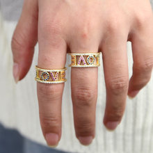 Gold Love letter ring Open Adjustable design micro pave colorful cz love 2020 valentines gift open rings(China)