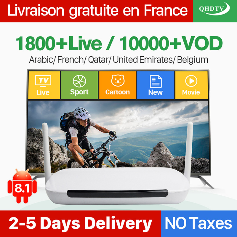 IPTV Subscription Arabic French QHDTV Account Android 8 1 Smart TV Box IPTV Europe Belgium Dutch