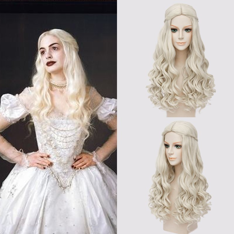 Hairpiece Anime Heat-Resistant-Fiber Wonderland Cosplay White in Long Queen The Alice