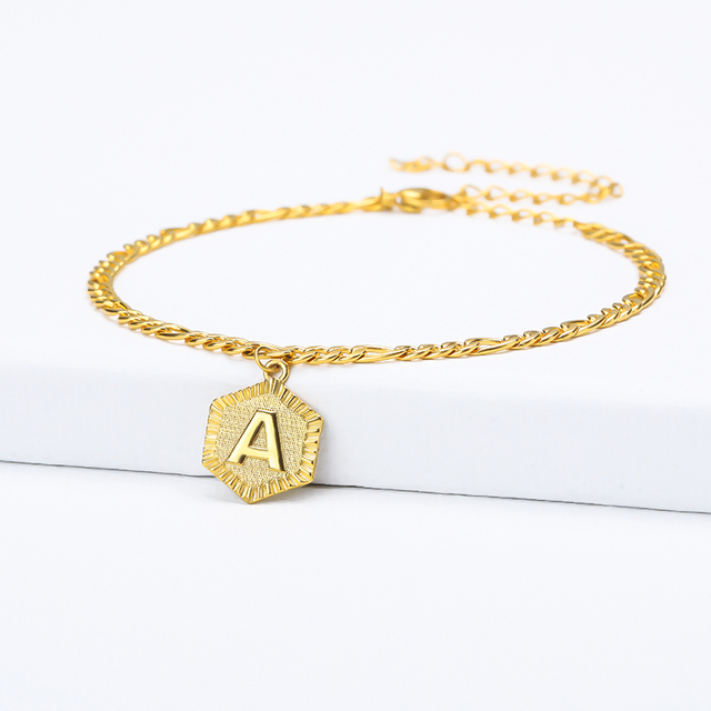 A-Z Initial Letter Anklet For Women Stainless Steel Anklets 21cm + 10cm Extender Gold Chain Alphabet Foot Accessories Jewelry 3