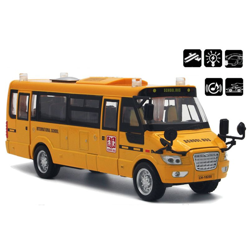 School Bus Toy Die Cast Vehicles Yellow Large Alloy Pull Back 9'' Play Bus With Sounds And Lights For Kids