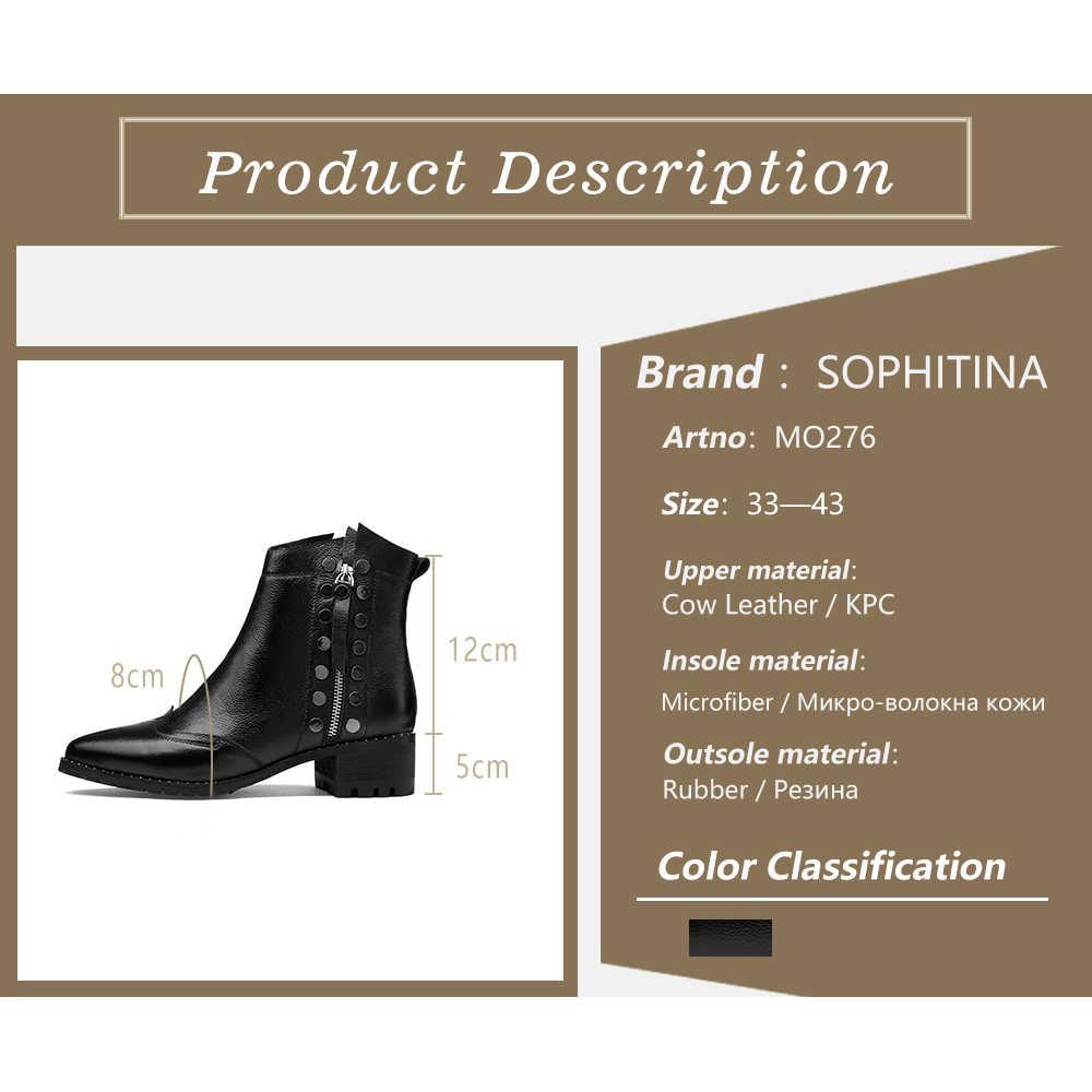 SOPHITINA Stilvolle Damen Stiefeletten Sexy Spitz Handgemachte Platz Ferse Schuhe Neue Echtes Leder Med Ferse Frauen Stiefel MO276