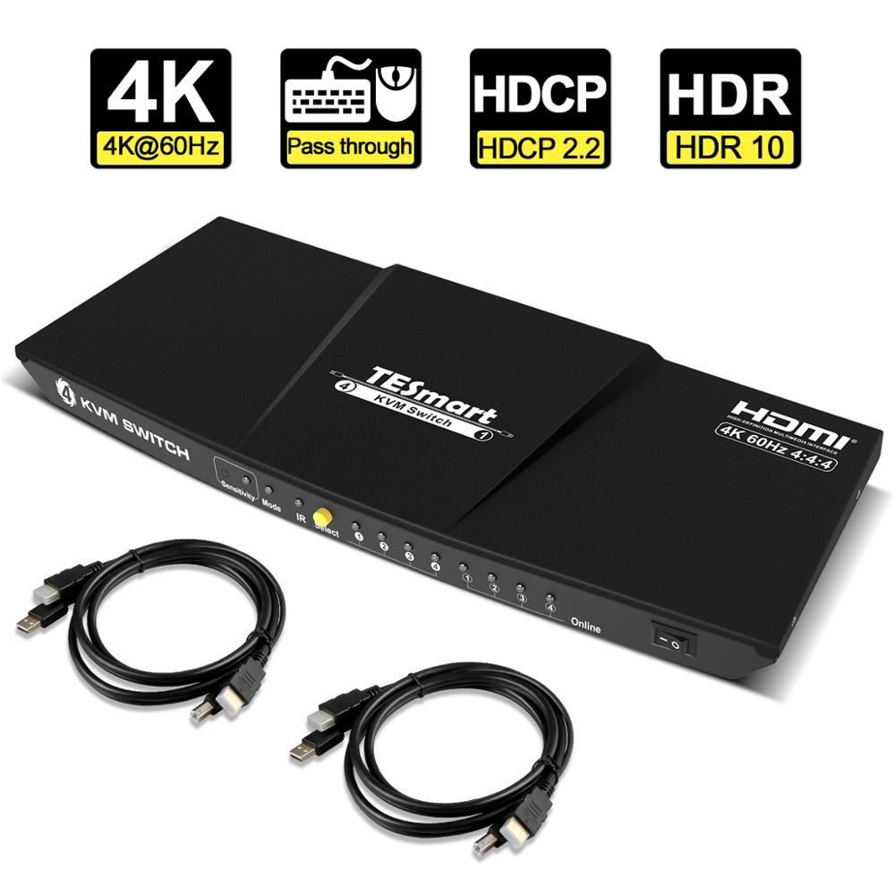 KVM Switch HDMI 4 Ports HDMI KVM Switch 4 In 1 Out KVM 4 Ports HDMI Switch 4x1 Up To 4K@60Hz Strong Compatible About KVM