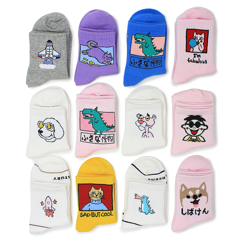 Funny Korean Cat Dinosaur Dog Women Cotton Crew Socks Tiger Novelty Creative Harajuku White Pink Girl Cartoon Gift Korean INS