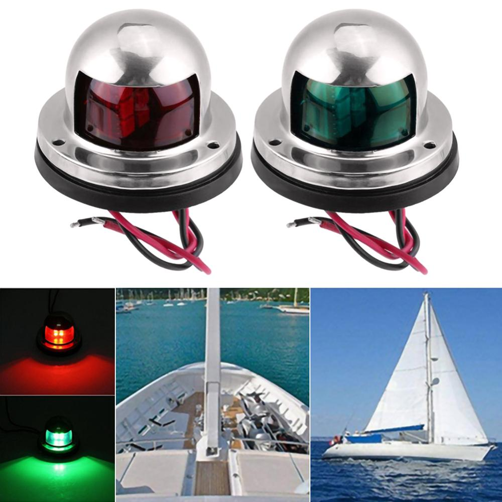 1 Pair Red Green Navigation Light Boat Marine Indicator Spot Light Marine Boat Accessory Boat Yacht Sailing Stainless Steel Lamp