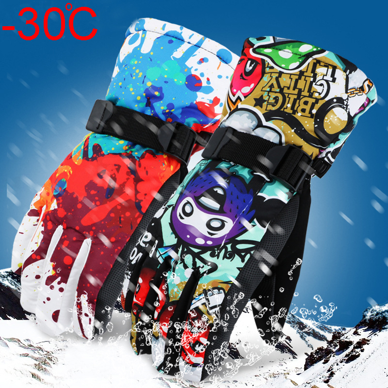 -30 Degree Winter Warm Snowboard Ski Gloves Waterproof Thicken Skiing Mittens Snowmobile Motorcycle Snow Monster Scrawl Printed