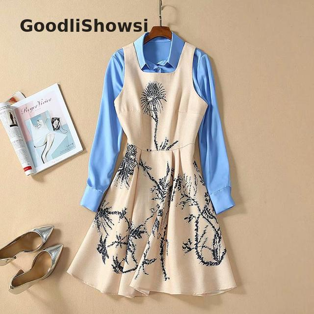GoodliShowsi 2020 Spring Fashion 2 Piece Sets Women s Suits Blue Shirt Tops Khaki Jumper Dress Suits Casual Outfits