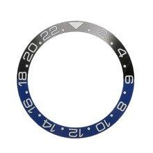 38mm preto azul relógio de cerâmica moldura na cara relógio anel inserção caber 40mm movimento automático relógio acessórios substituição