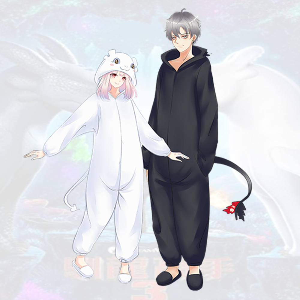 Cartoon How to Train Your Dragon 3 Cosplay Costume White Light Fury Toothless Kids Adult Pajamas Bathrobe Jumpsuit Sleepwear New