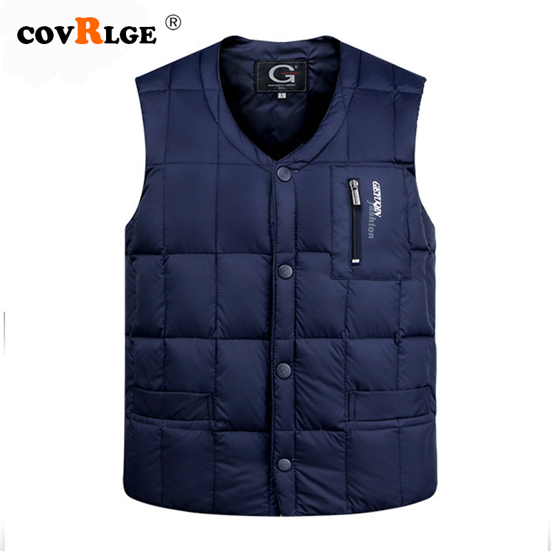 Covrlge White Duck Down Jacket Vest Men Autumn Winter Warm Sleeveless V-neck Button Down Lightweight Fashion Waistcoat MWB019