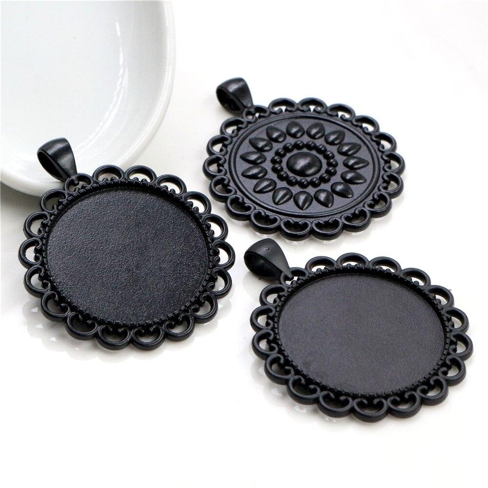 2pcs 30mm Inner Size Black Baroque Style Cabochon Base Setting Charms Pendant (B7-05)