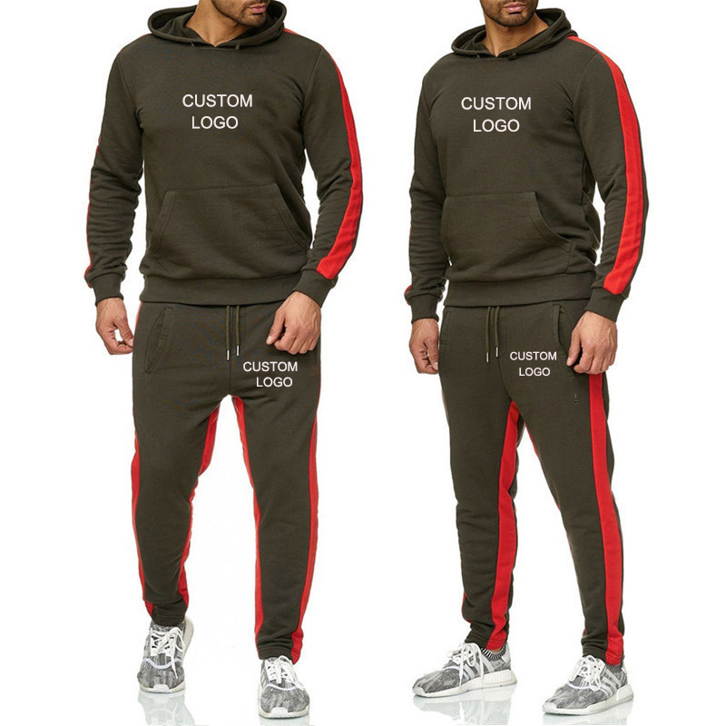 Men Sets Hoodies Sportswear Tops And Pants Set Track Suits Jacket Casual Solid Sweat Suit Custom Logo Male Clothes