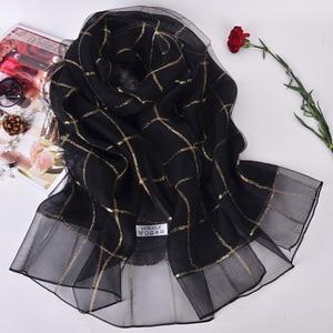 Image 2 - Elegant Women Cotton+Silk Scarves For Women Long Shawls Wraps Plaid Print Kerchief Hijab Scarf 190cm*70cm Neck Scarfs For Ladies