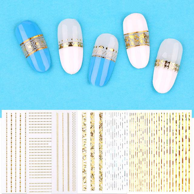 1 Sheet Gold Metal 3D Nail Stickers