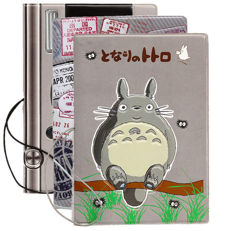 Travel Accessories Cartoon Totoro Passport Cover Wallet Bag Women Men ID Address Holder Portable Boarding PU Leather Card Cover