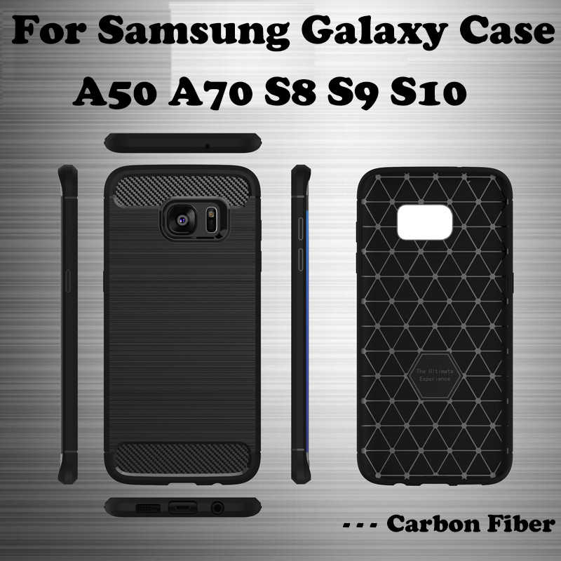 HTMOTXY คาร์บอนไฟเบอร์สำหรับ Samsung Galaxy A50 A70 A10 A20 A30 A40 A60 A80 หมายเหตุ S8 9 8 S9 s10 PLUS M 20 30 ซิลิโคนนุ่ม