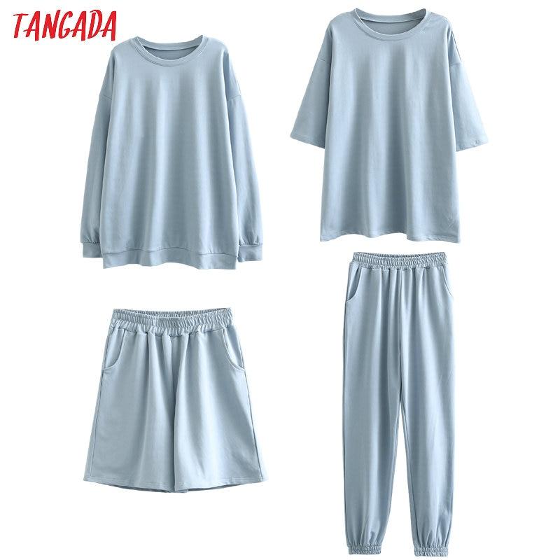 Tangada 2020 Autumn Women Terry 95% cotton suit oversized 4 Image