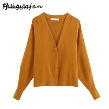 Miguofan Sweaters Women v neck Fashion Single Breasted Sweat