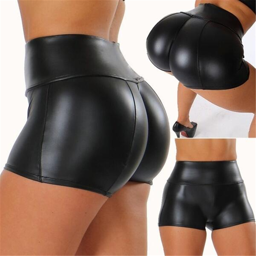High Quality 2019 PU Leather Shorts Women Sexy Women Short Pants Slim Casual Elastic Waist Shorts Plus Size Hot Pants
