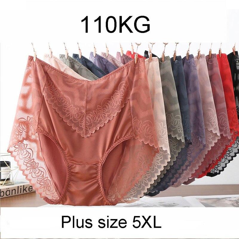 Sexy lingerie feminina sem costura calcinha super grande cueca feminina cintura alta rendas oco para fora cuecas plus size 5xl breve