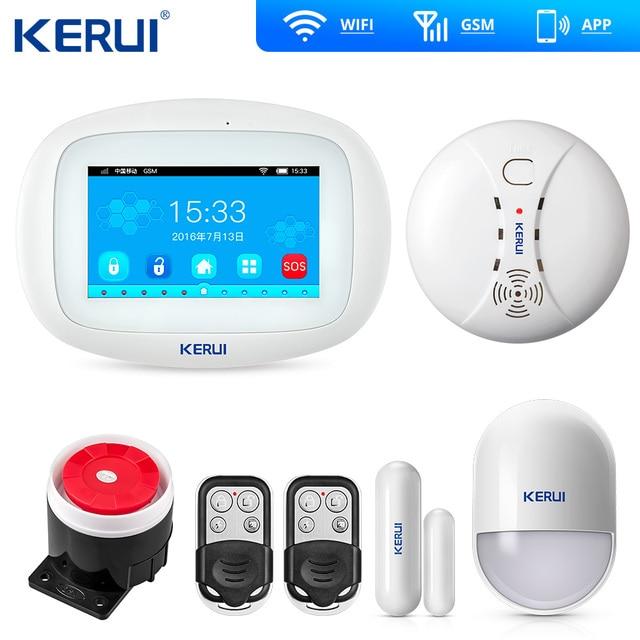 Keru iK52 Wifi GSM Alarm APP Control  Security System Burglar Intruder kit Door open reminder  Smoke Sensor