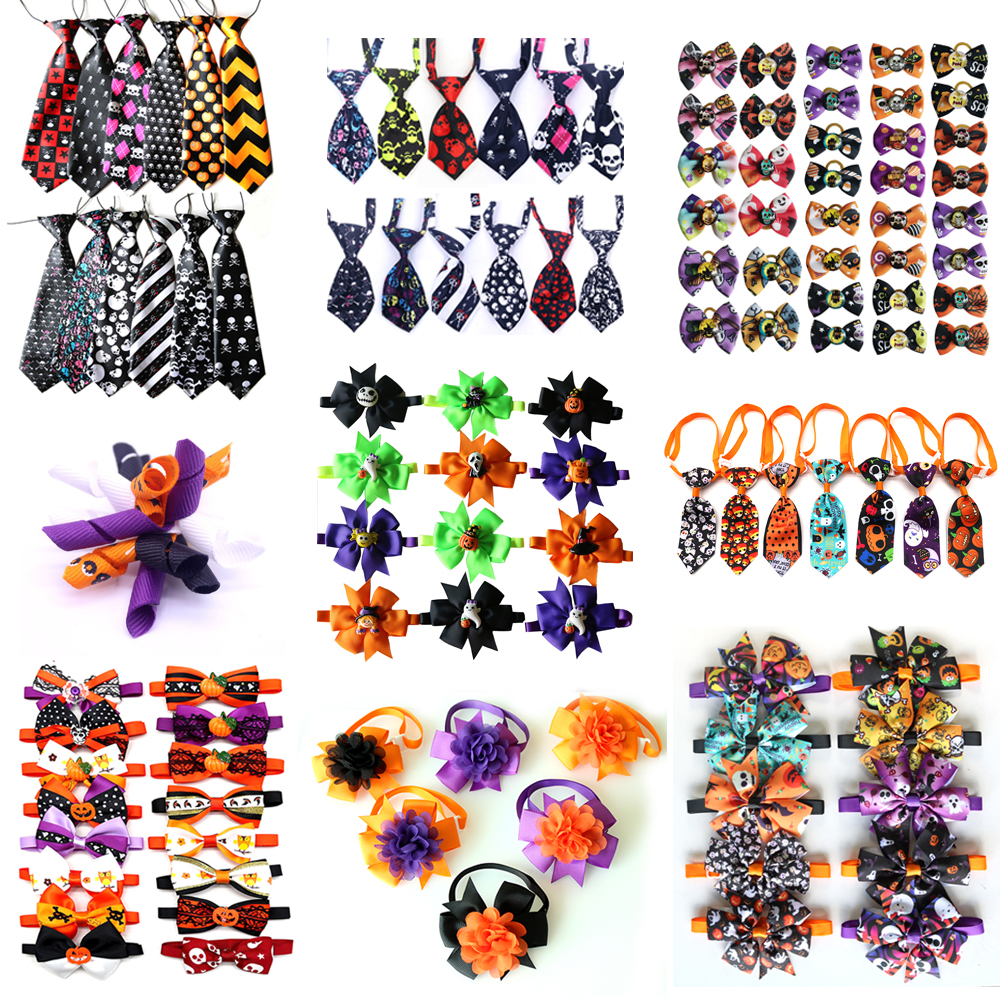 50pcs Halloween Dog  Accessories Pumpkin Skull Dog Pet Bow Tie Bandana For Holiday Small Dog Grooming Products Large Dog Items