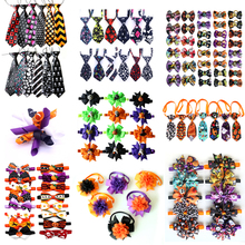 50pcs Halloween Dog  Accessories Pumpkin Skull Pet Bow Tie Bandana for Holiday Small Grooming Products Large Items