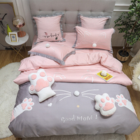 New 4pcs Egyptian cotton Duvet Cover Sets King Queen Size Bedding Sets Pillowcases embroidery cat bed cover Bed Linen