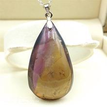 Colgante de cuarzo Natural ametrina de alta calidad, piedra preciosa amarilla púrpura para mujer, 44x25x15mm, piedra ovalada rara, collar de regalo de amor AAAAA