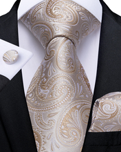 Wedding Men Tie Gold White Paisley Fashion For Business Dropshipping DiBanGu Designer Hanky Cufflink Set SJT-7248