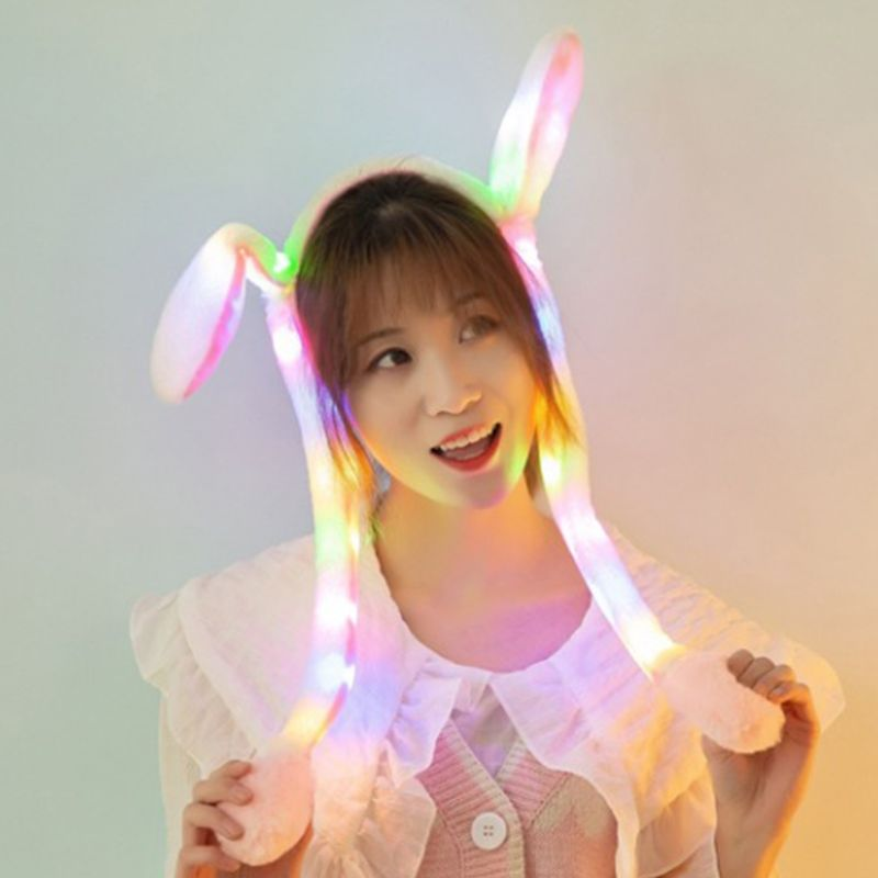 Girls Cute LED Light Up Rabbit Headband With Airbag Moving Ears Children Bunny Long Plush Toy Hair Hoop Party Photo Props