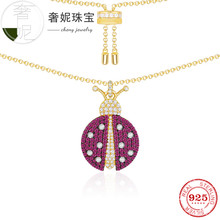 cheny fit s925 sterling silver necklace insect series ladybug shape punk hiphop trendy fashion decoration jewelry for womens(China)