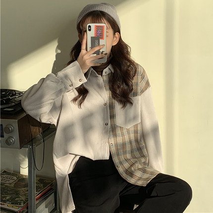 Splicing Corduroy Jacket Spring 2020 New Female Korean Version Of The Loose Wild Long-sleeved Shirt Tide