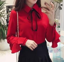 New 2019 Female Elegant Black Bow Tie Collar White Blouses Chiffon Casual Shirt Ladies Tops School Blouse Fashion styles 184i3