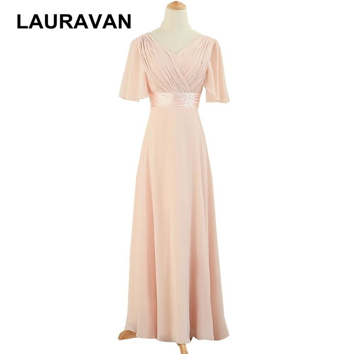 Women Robe De Mariage Long Plus Size Light Pink Elegant Bridesmaid With Cap Sleeves Dresses Bridesmaids For Wedding Guest