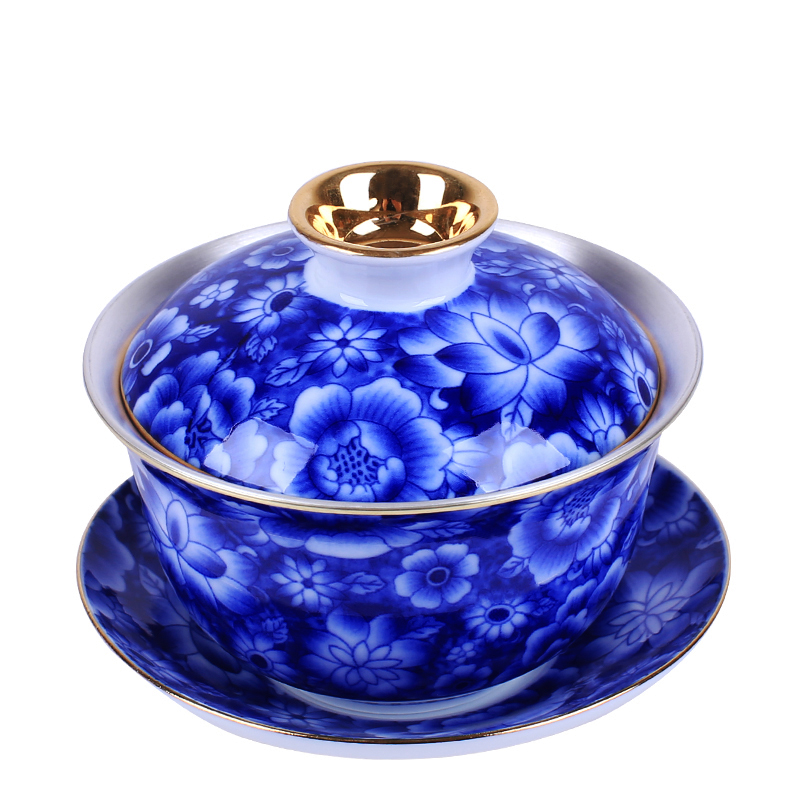 Jingdezhen Blue and White Porcelain Silver Tea Set Sterling Silver 999 Kung Fu Tea Bowl Lid Cup Ceramic Silver Sancai Tea Bowl|Tea Tureen| |  - title=
