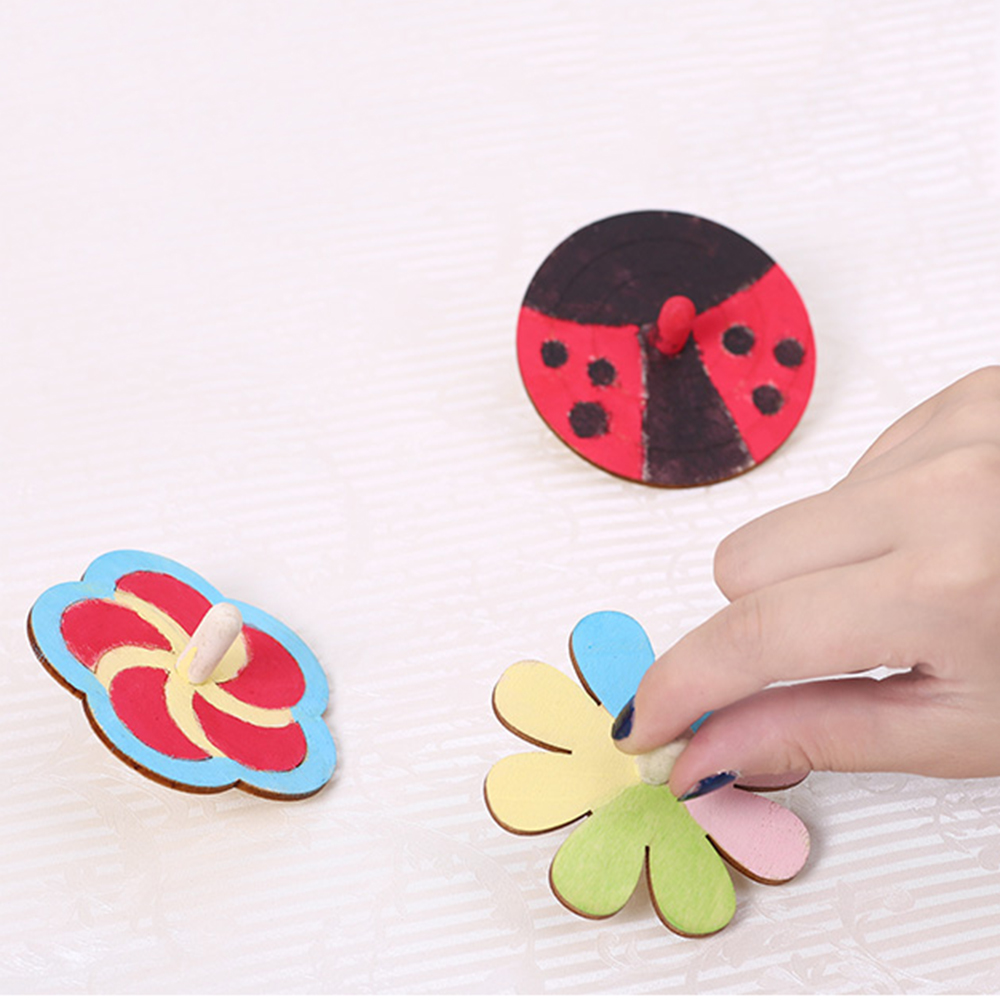 20pcs Children's Diy Painting Coloring Gyro Toys Wooden Spinning Tops DIY Wood Spin Tops For Party Favors Education Game Gifts