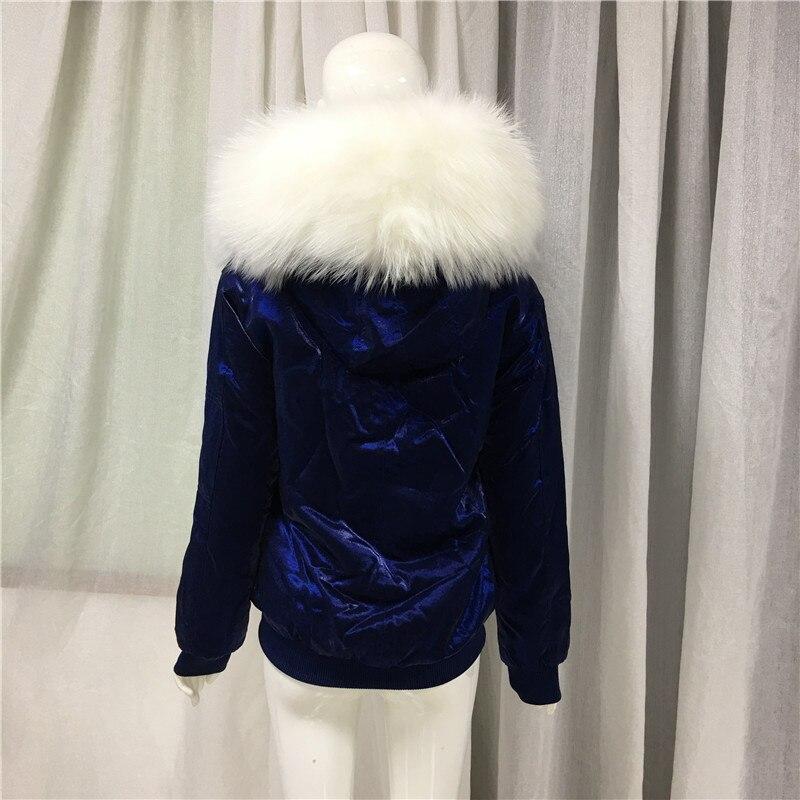 Jinsirong бархатная синяя куртка бейсбольная форма 2019 Новое поступление пальто с натуральным меховым воротником для женщин Высококачественная подкладка из искусственного меха - 4