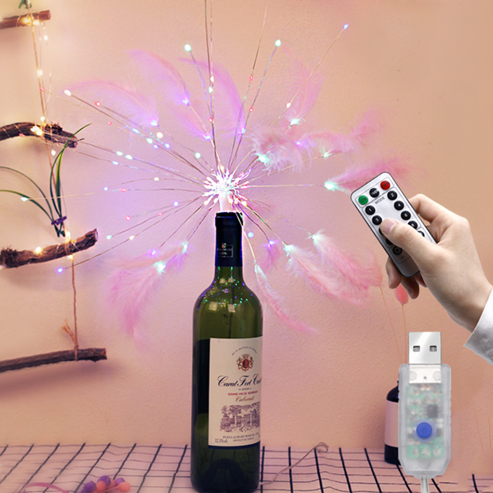 DIY LED Feather String Light  Remote Control Colorful Fireworks Lamp Wedding Party INS Style Romantic Decoration Lamp