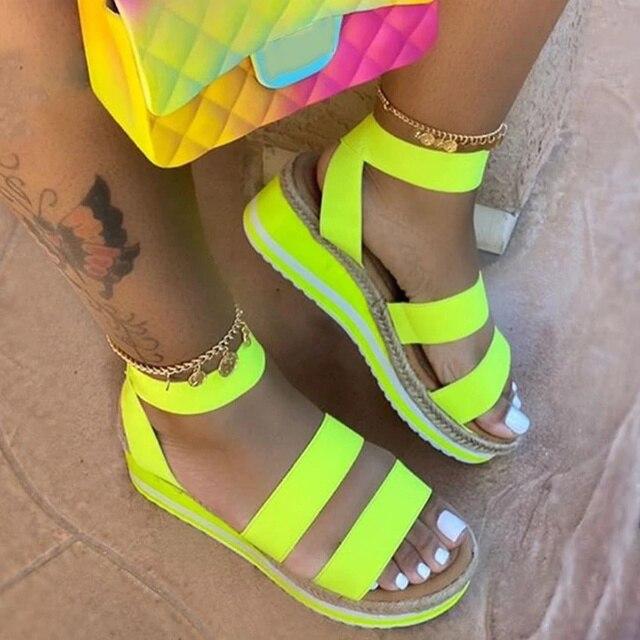 Summer Women's Sandals Ladies Shoes Casual Slip On Wedges Platform Hemp Woman Strap Cross Cool Girls 2020 Fashion Female Comfort