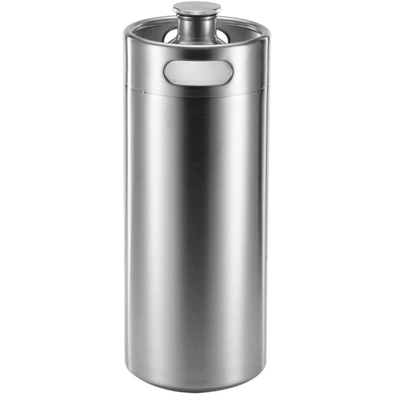4L Stainless Steel Growler Mini Keg Beer Growler Leak Proof Top Lid Beer Bottle Home Brewing Making Bar Tool