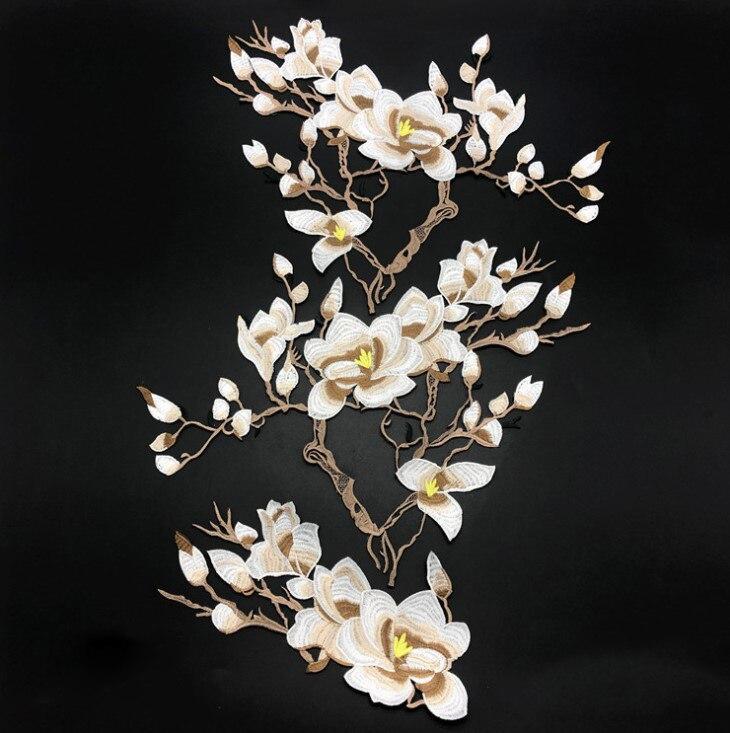 4 couleurs fleur broderie Patch dentelle tissu Applique pour vêtements robe fer sur coudre sur réparation Patch artisanat