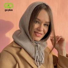 GOPLUS – chapeau tricoté en cachemire pour femme, unisexe, col à capuche, réglable, élastique, hiver