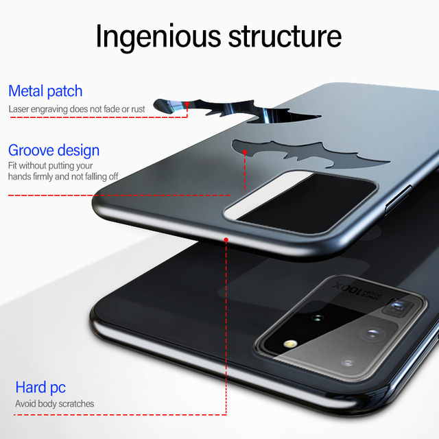 Ultra-thin Metal Bat Matte PC Phone Case For Samsung Galaxy S20 S10 E 5G S9 S8 Note 20 10 9 8 Plus Magnetic Protection Cover 3