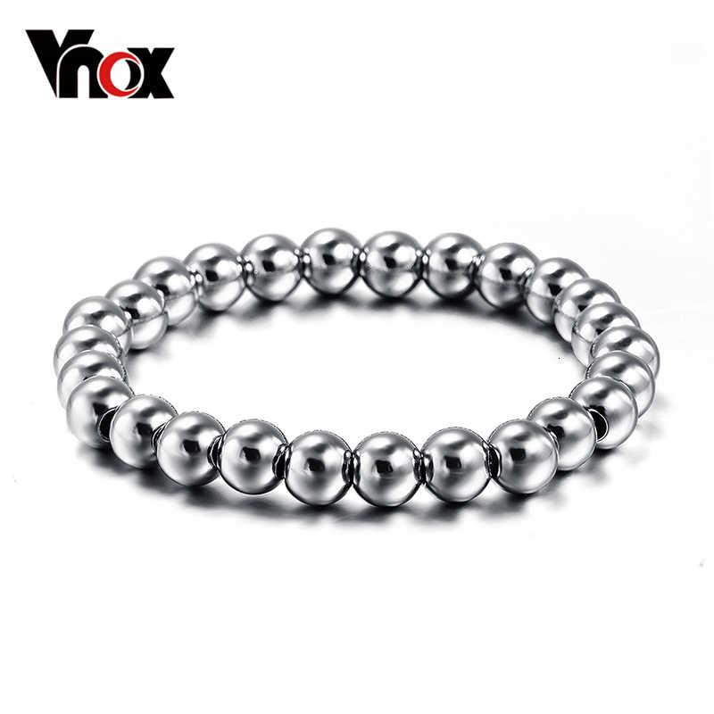 Vnox Nunca desaparecer de aço inoxidável pulseira para homens e mulheres unisex bead bola jóias