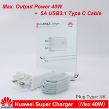 HUAWEI Super Charge 40W Quick Charger 10V/4A 5A Type C Cable for huawei nova 5 4 p40 p30 p20 pro mate xs 30 20 10 X pro